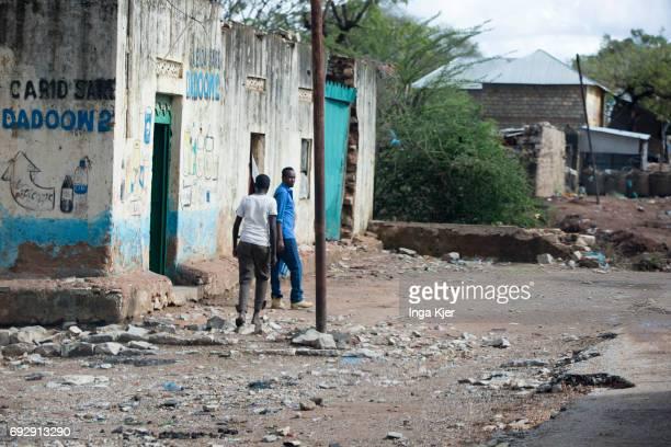 Street scene in a slum in Somalia on May 01 2017 in Baidoa Somalia