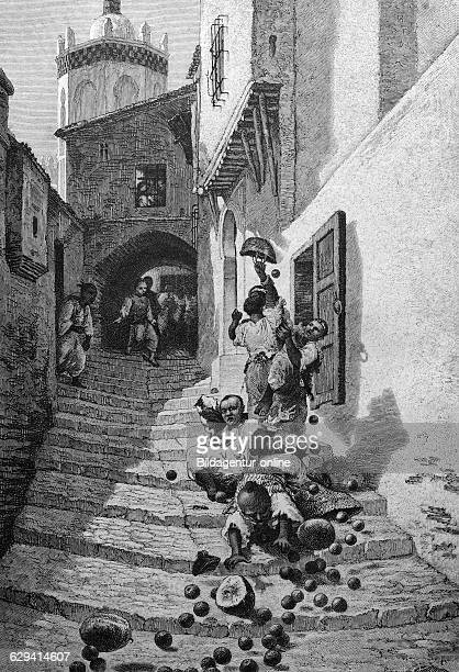 Street scene in algiers algeria historic illustration 1877