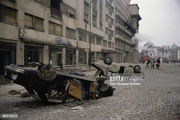 A street scene in Bucharest during the Romanian Revolution December 1989