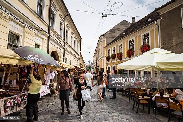 Street scene in Cluj-Napoca, Transylvania, Romania