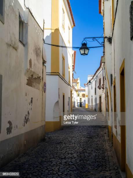 A street scene in Evora a Roman era town and capital of Alentejo Province Portugal