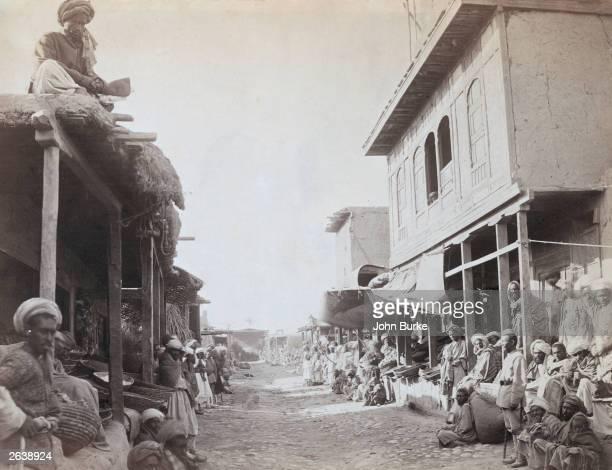 Street scene in Jalalabad, capital of Nangarhar province in Eastern Afghanistan. Original Artwork: An Albumen Print.