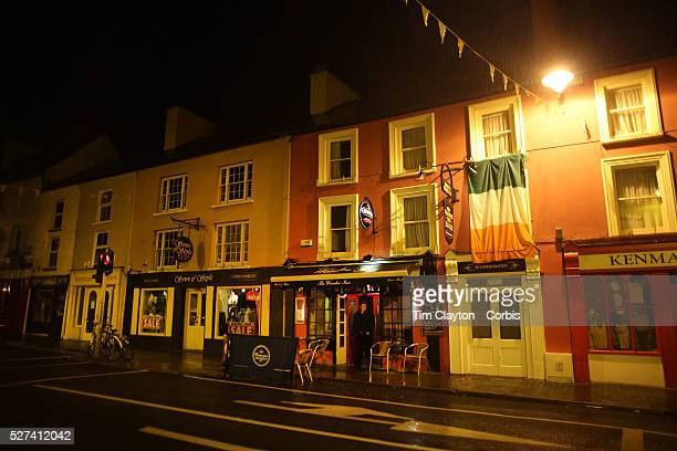 A street scene in Kenmare Country Kerry with brightly coloured houses shops bars restaurants and hotels County Kerry Ireland Photo Tim Clayton