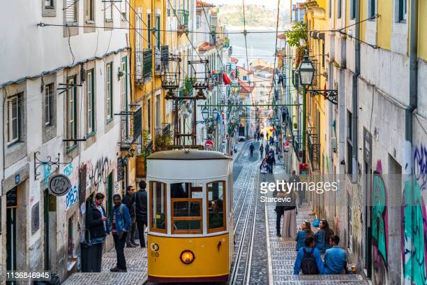 street scene in lisbon, portugal - portugal stock pictures, royalty-free photos & images