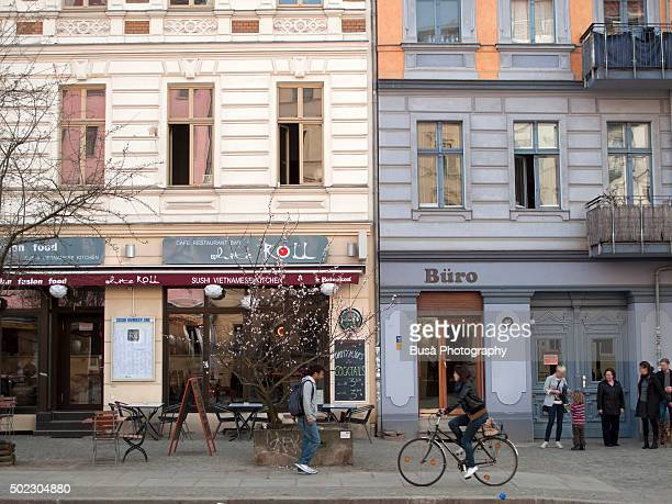 Street scene in Oderbergerstrasse, in Berlin, district of Prenzlauerberg, Germany