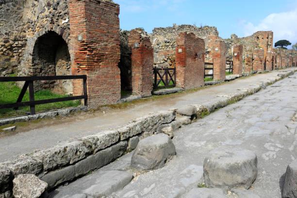 Street scene in Pompeii, the Roman city buried in lava near Napl