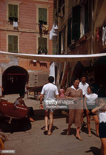 A street scene in Portofino on Italy's Ligurian coast 1st December 1951 Original publication Picture Post 5599 Portofino unpub