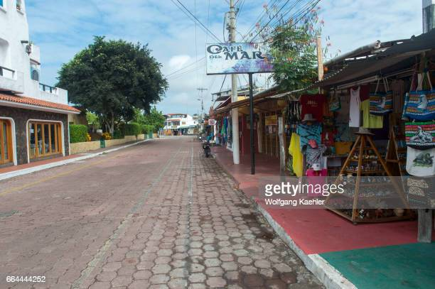 A street scene in Puerto Ayora on Santa Cruz Island in the Galapagos Islands Ecuador