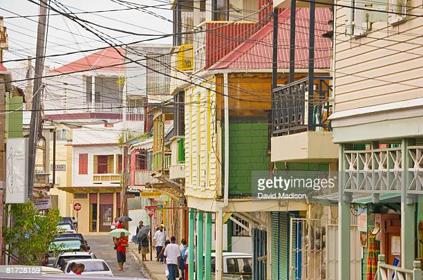 street scene in roseau, dominica. - dominica stock pictures, royalty-free photos & images