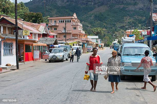 Street scene in small town in the highlands along highway No 2 east of Antananarivo near Moramanga Madagascar