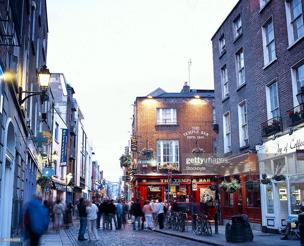 Street scene in temple bar, Dublin, Ireland : Stock Photo