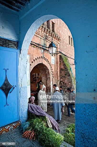 Street scene in the blue medina