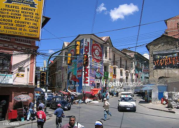A street scene in the Bolivian capital city of La Paz on March 27 2005 in La Paz Bolivia Set high in the Andes at an elevation of more than 3600...
