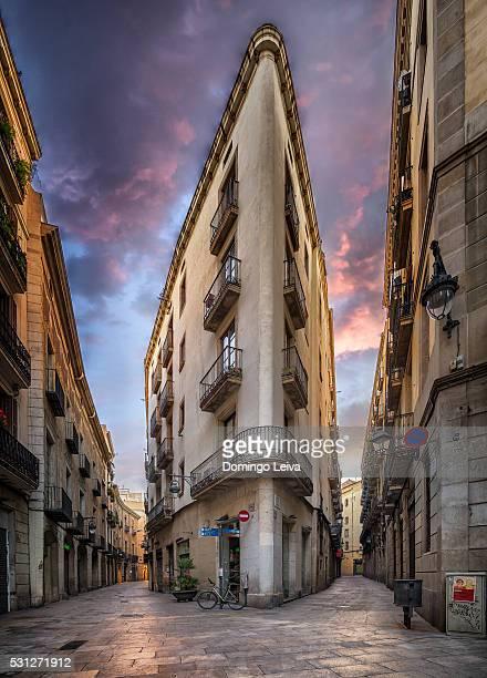 Street scene in the Gothic Quarter in Barcelona Spain