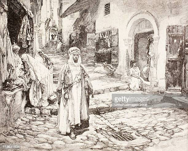 Street scene in the kasbah in Algiers Algeria at the end of the 19th century From Afrika dets Opdagelse Erobring og Kolonisation published in...