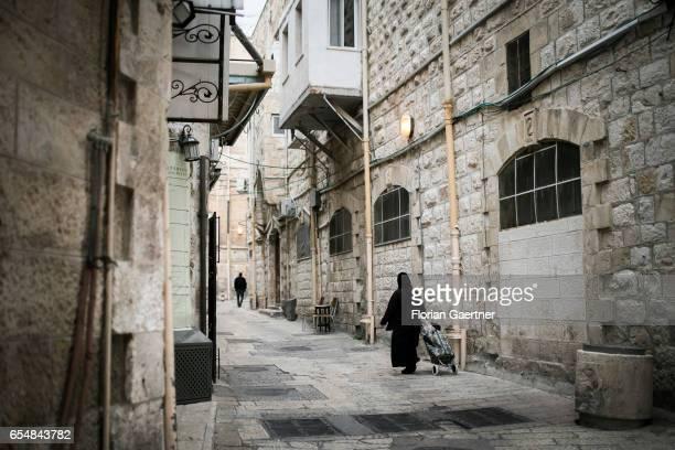 Street scene in the old town of Jerusalem on March 14 2017 in Jerusalem Israel
