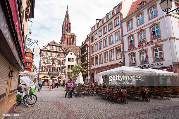 Street scene in the town of Strasbourg with tourists.