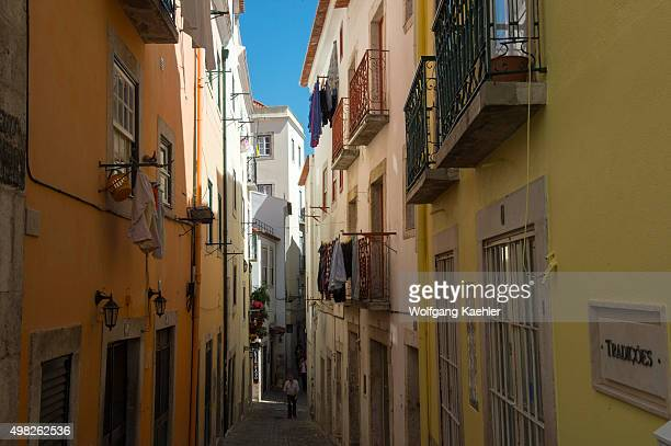 Street scene in the traditional Alfama the old quarter of Lisbon the capital city of Portugal