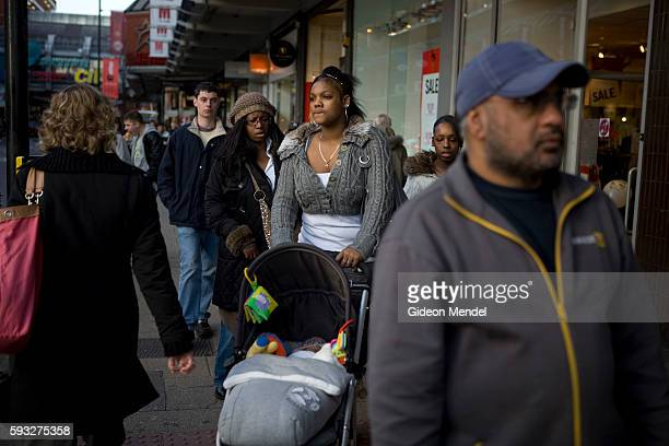 Street scene in the Wood Green shopping area showing people from a wide variety of ethnic and cultural backgrounds. This is in London's Haringey...