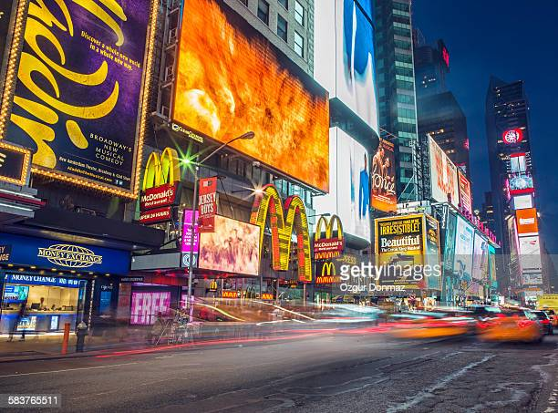 Street scene in Times Square at night, New York
