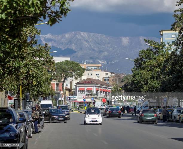 Street scene in Tirana capital of Albania on March 27 2017 in Tirana Albania