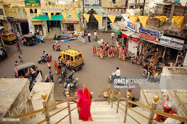 street scene in udaipur india - sarri stock pictures, royalty-free photos & images