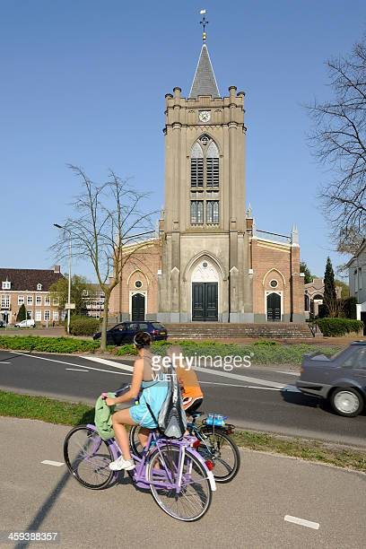 Street scene in Zeist with protestant church