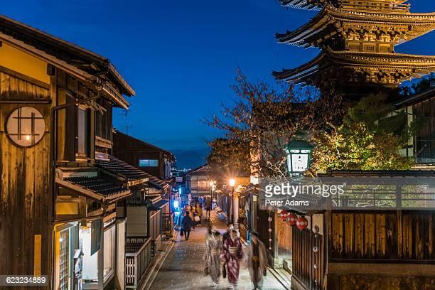 Street scene Kyoto at night with Yasaka temple