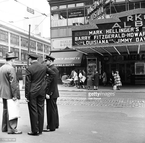 Street scene near Brooklyn's Prospect Park New York New York 1948 The view shows pedestrian and vehicular traffic as well as facades of the RKO...