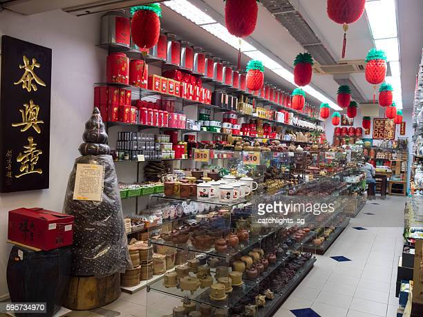 street scene of chinatown singapore - tea room stock pictures, royalty-free photos & images