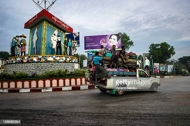 Street scene of daily life at a crossroad with a revolutionary monument in Mawlamyine it was the first capital of British Burma in the 19th century...