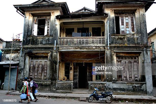 Street scene of daily life at a rather dilapidated old building in Mawlamyine it was the first capital of British Burma in the 19th century It's the...