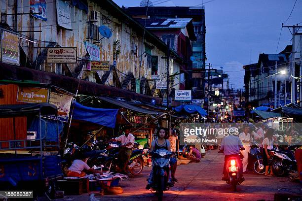 Street scene of daily life in the evening at shopping area near the Central market in Mawlamyine it was the first capital of British Burma in the...