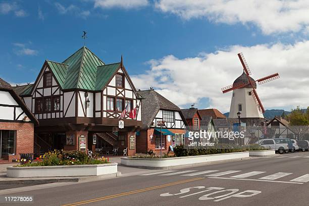 street scene of solvang, california, usa - charming stock pictures, royalty-free photos & images