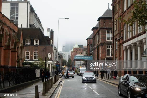 Street scene of the now closed Royal London Hospital in Whitechapel London United Kingdom