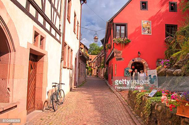 Street Scene of the town of Kaysersberg. Alsace France.