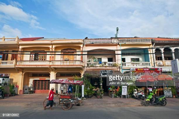 Street scene of tourist cafes etc. Kampot