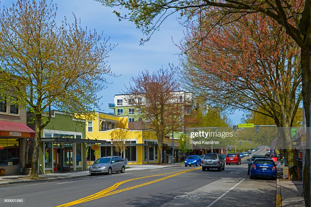 Street scene on Greenwood Avenue, Greenwood neighborhood of Seattle : Stock Photo