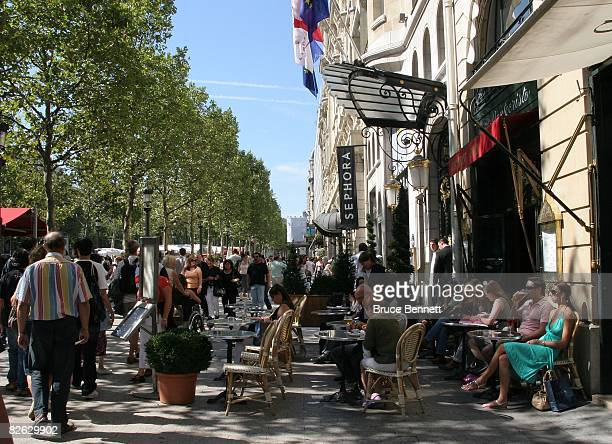 A street scene on the Avenue Des Champs Elysees on August 21 2007 on Notre Dame in Paris France