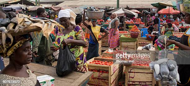 Street scene on the market in Agbogbloshie a district in Ghana's capital on September 09 2016 in Accra Ghana