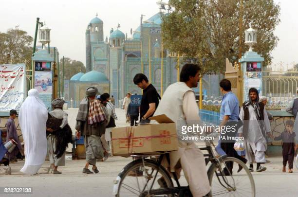 A street scene outside the Blue Mosque in MazareSharif in northern Afghanistan Sunday October 2 2005 A British soldier was killed and five others...