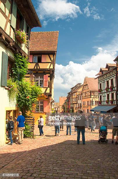 Street scene outside the village of Riquewihr. Alsace France.