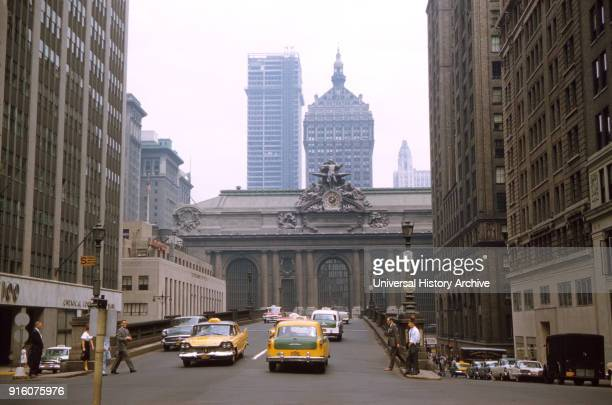 Street Scene Park Avenue and Grand Central Terminal New York City New York USA July 1961