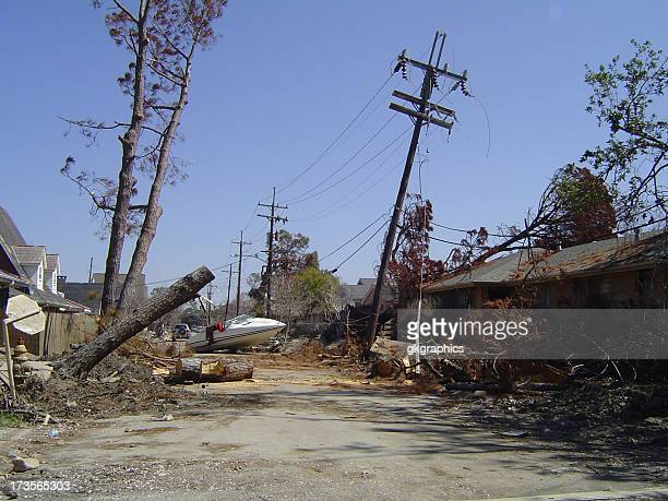 street scene post-katrina - house collapsing stock pictures, royalty-free photos & images