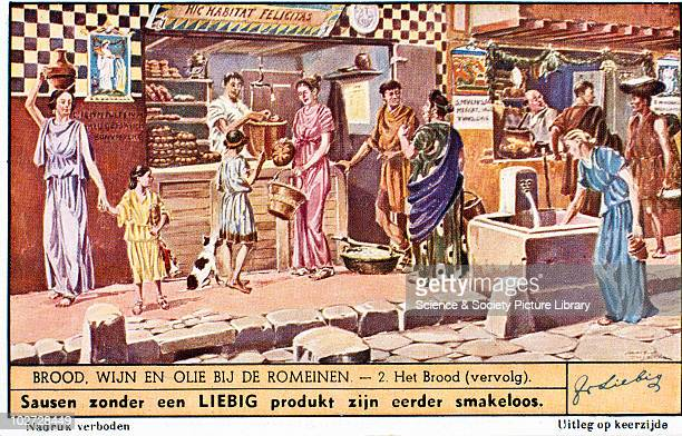 Street scene Roman Empire Liebig trade card 19th20th century Part of the series 'Brood wijn en ojie nij Romeinen' showing a street scene with a...