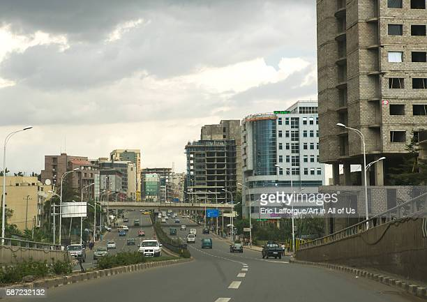 Street scene showing traffic and modern buildings addis abeba region addis ababa Ethiopia on March 7 2016 in Addis Ababa Ethiopia