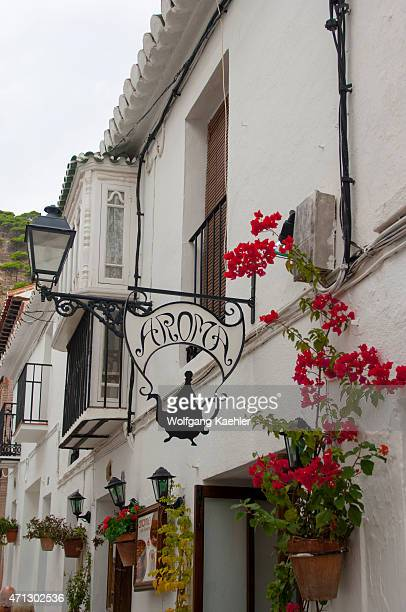 A street scene with a house in Mijas a small village on the Costa del Sol near Malaga in Andalusia Spain