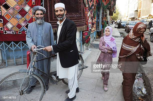 A street scene with Afghan people getting on with their daily lives in Chicken Street on October 17 2011 in Kabul Afghanistan Chicken Street has been...