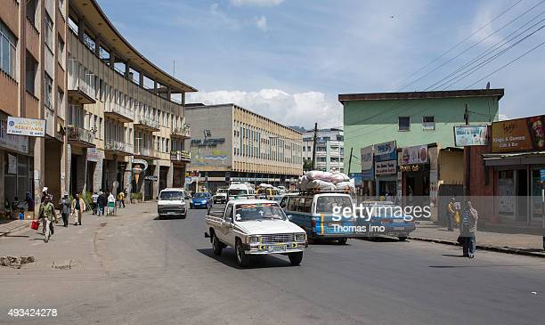 Street Scene with cars and builidings on October 12 2015 in Addis Abeba Ethiopia