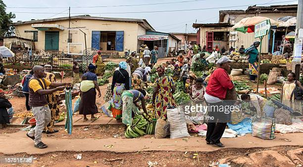 Street scene with fruit and vegetable market in Yaounde, Cameroon on October 29, 2012.